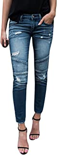 Womens Juniors Distressed Ripped Destroyed Jeans Skinny Moto Leggings with Frayed Hem