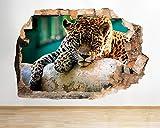 D696 Jaguar Gato Animales Selva Cool Smashed Adhesivo de pared 3D Art Pegatinas Vinilo RoomMedium
