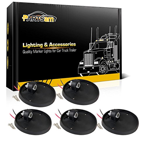 Partsam 5X Round-Shape Cab Marker Light Roof Running Lamp Rubber Base Compatible with C/K Series 1973-1987 Full Size Pickup Trucks Top Roof Cab Light Base