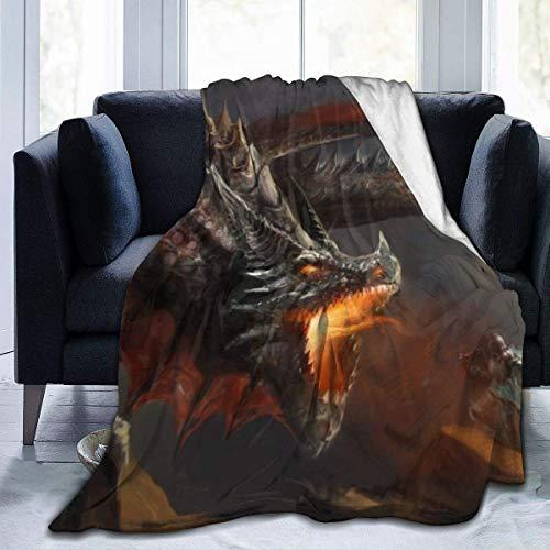 Couverture de Jet en Molleton de Flanelle, scène Fantastique Chevalier Combattant l'oeuvre de Dragon Chaud Confortable Jet Parfait pour Toutes Les Saisons pour canapé-lit