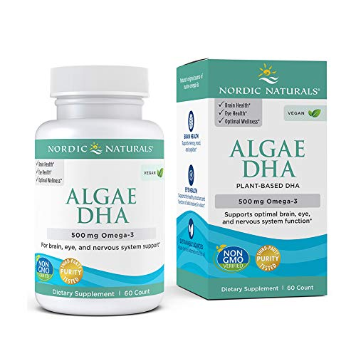 Nordic Naturals Algae DHA - 500 mg Omega-3 DHA - 60 Soft Gels - Certified Vegan Algae Oil - Plant-Based DHA - Brain, Eye & Nervous System Support - Non-GMO - 30 Servings