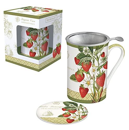 Easy Life 280JBOS - Cofanetto per tè con filtro in acciaio inox, porcellana, multicolore, 30 cm