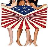 yuiytuo Toalla de baño,Juegos de Toallas Bath Towel Soft Beach Towel Towel with Unique Design American Retro Vintage Flag Texture