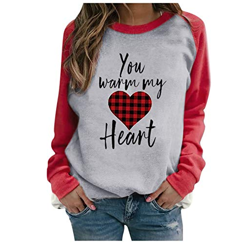 Hotkey Womens Long Sleeve Tops, Valentine's Day Heart-Shaped Printed T Shirts Casual O-Neck Color Block Tops Gray