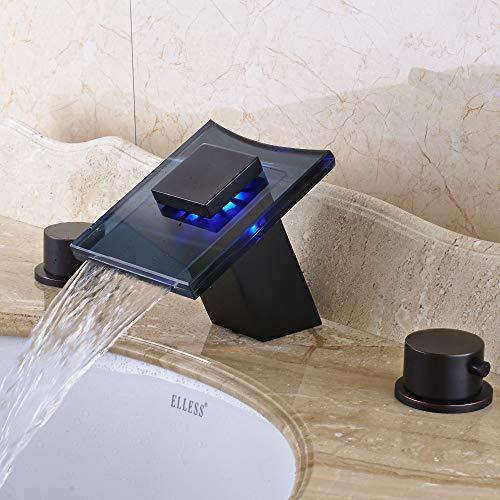 G0000D-Faucet Led Cambios de Color Baño Grifo Mezclador Cubierta Montada para 8 'Grifo del fregadero == {}