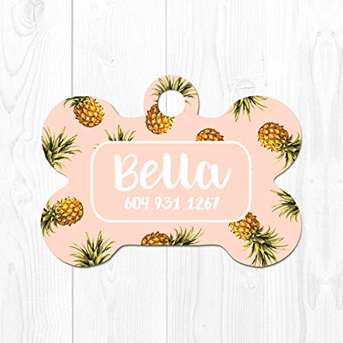 Personalized Dog Tag for Dogs Dog ID Tag Pet Tags Dog Tag Pet ID Tag Dog Tag for Collar Pineapple Dog Tag ID Tropical Cute Dog Id Tag 3433