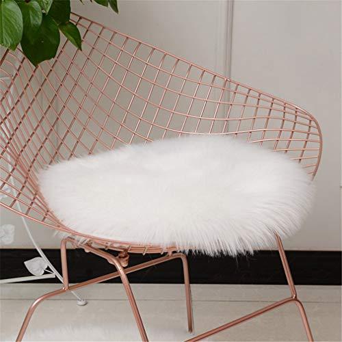 Rund Sitzkissen Faux Lammfell Schaffell Sitzauflage Fell Optik Nachahmung Wolle Teppich Stuhl Sofa Matte (Weiß,45cm)