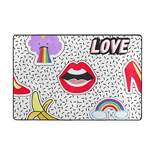 MyDaily - Alfombra de área de cómic con diseño de Zapatos de tacón arcoíris, 4 x 6 pies, para Sala de Estar, Dormitorio, Cocina, Decorativa, Ligera, de Espuma, poliéster, Multicolor, 4' x 6'