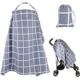 Cubierta de lactancia del bebé Suave ropa de lactancia de algodón Lactancia manta mantón transpirable Delantal Cubrir con toalla de bebé a juego gratis(gris)