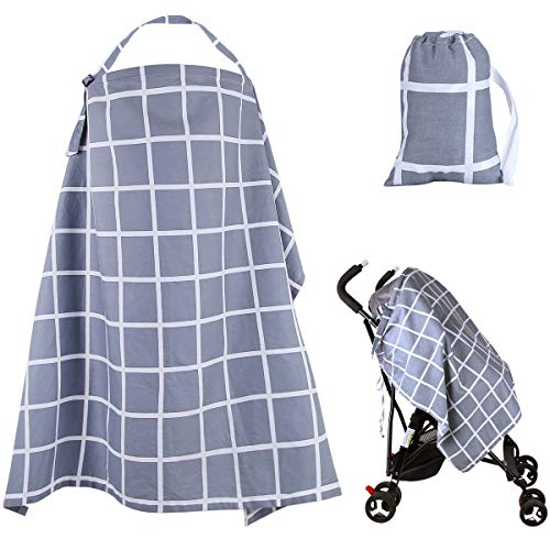 Nursing Breastfeeding Cover Lightweight Breathable Cotton Nursing Apron for Breastfeeding Rigid Neckline Full Coverage and Adjustable Strap-Free Matching Pouch and Towel