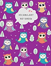 Vocabulary Notebook: 8.5 x 11 Notebook 3 Columns Large | A-Z Alphabetical Tabs Printed | Cute Owls in Forest Design Purple
