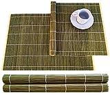 Juego de 4 manteles individuales de bambú de 30 x 45 cm, color verde oliva