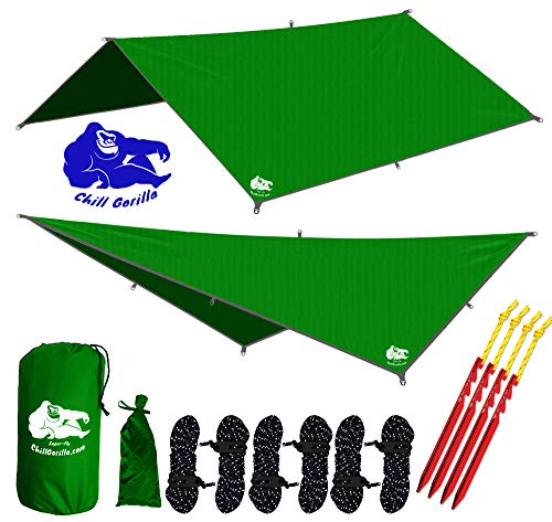 CHILL GORILLA 10' HAMMOCK RAIN FLY TENT TARP Waterproof Camping Shelter. Essential Survival Gear. Stakes Included. Lightweight. Easy to setup. DIAMOND RIPSTOP Nylon. 10' x 10'. GREEN