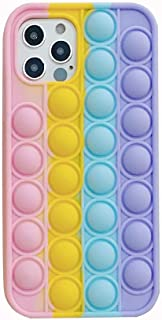 Fidget Push Pop It Silicone Phone Case (iPhone 12 / 12Pro, Pastel Pink Yellow Blue Purple)