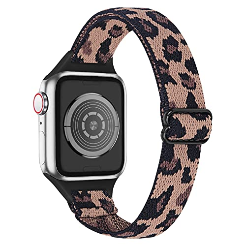 MEFEO Slim Elastic Bands Compatible with Apple Watch Bands 38mm 40mm 42mm 44mm, Adjustable Thin Nylon Sport Wristbands Replacement for iWatch Series 6/5/4/3/2/1/SE(Leopard,38mm/40mm)