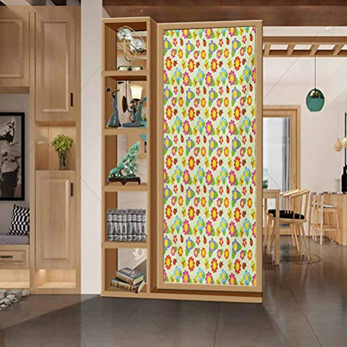wonderr Window Film Stained Glass Stickers, Baby Floral Pattern with Ladybugs and Butterflies Dotted Bac, Home Bathroom Toilet Decorative, W23.6xH35.4 Inch