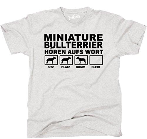 Siviwonder Unisex T-Shirt Miniature Bullterrier HÖREN AUFS Wort Fun Hunde Hund ash L