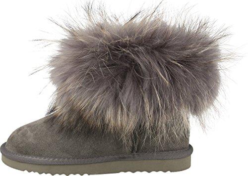 OOG Damen Leder Schlupfstiefel   warme gefütterte Boots `Mini´ Stiefeletten mit Waschbär Pelz/Fur   Winter-Schneestiefel (Grau, 37)