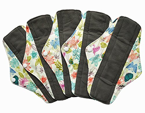 5 Pieces Charcoal Bamboo Mama Cloth/ Menstrual Pads/ Reusable Sanitary Pads (Regular (10 inch),...