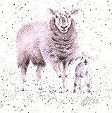 Wrendale Design - Impresión de oveja y cordero en lienzo cuadrado 'Mientras pastores observaban su rebaño'