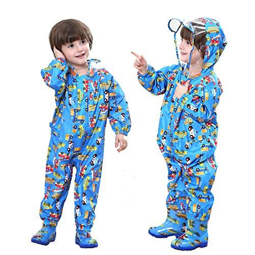 Baogaier Impermeables para Niños Chubasqueros Chaquetas Capa de Lluvia Encapuchado Mono de Bolsillo Azul...
