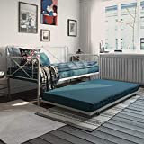 REALROOMS Ally Metal Farmhouse Daybed with Trundle, Sturdy Secured Steel, Twin, Black