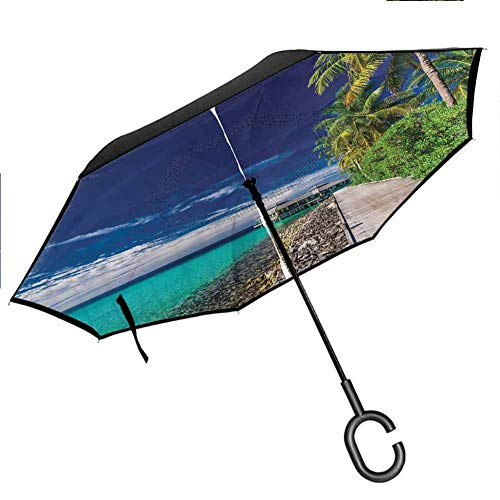 AHOMY Inverted Reverse Umbrella Beach Seawave Sunshine Windproof for Car Rain Outdoor