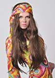 Wicked Costumes 1970s Hippy Girl Fancy Dress Long Straight Brown Wig