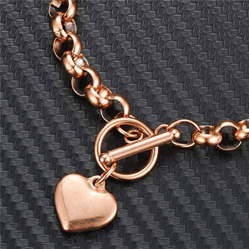 Mano Pulseras Brazalete Joyería Mujer Pulsera Clásica De Corazón para Mujer,AceroInoxidable,Color Dorado, Pulsera P