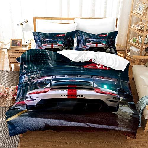 AYMAING Fast und Furious Bettwäsche Set Junge Mädchen Kinderbettwäsche Mikrofaser Bettbezug 135 x 200 cm und Kissenbezüge 80 x 80 cm mit Reißverschluss