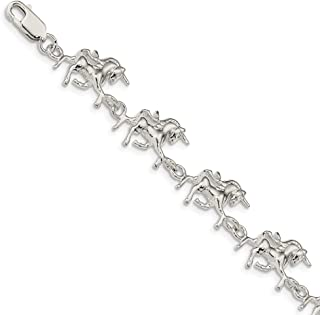 925 Sterling Silver Unicorns Bracelet 7 Inch Animal Fine Jewelry For Women