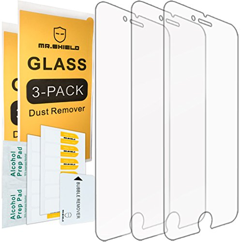 Mr.Shield [3-Pack] for iPhone 7 Plus/iPhone 8 Plus [Tempered Glass] Screen Protector [0.3mm Ultra Thin 9H Hardness 2.5D Round Edge] with Lifetime Replacement