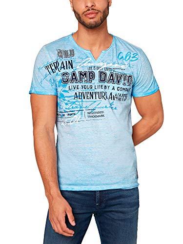 Camp David Herren T-Shirt mit Artworks und Vintage-Effekt