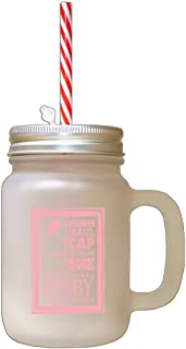 Soft Pink Grubber Maul Cap Scrum Ruck Rugby Frosted Glass Mason Jar With Straw