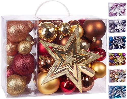 Brubaker 50-teiliges Set Weihnachtskugeln mit Baumspitze - Christbaumschmuck aus Kunststoff in Rot Gold Braun