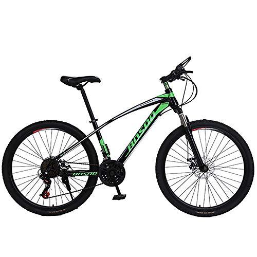 Bicicleta De Montaña 26''21 Velocidad Freno De Disco Bicicleta De Montaña,Suspensión Completa,Bicicleta De Carretera para Hombres Y Mujeres-Verde 26inch