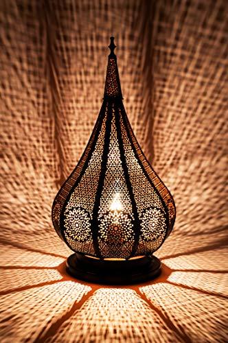 Orientalische kleine Tischlampe Lampe Kais 38cm Schwarz E14 | Marokkanische Tischlampen klein aus Metall, Lampenschirm Schwarz | Nachttischlampe modern, für Vintage, Retro & Landhaus Stil Design