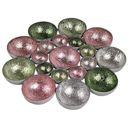 dszapaci Teelichtschale Metall Teelichthalter innen Gold Kupfer und Silber Kerzenhalter Design Teelichthalter Windlicht (Gold Bronze)