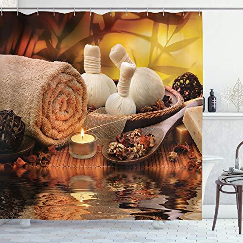 ambesonne Spa Decor Collection, Oriental Cultura mosaico con diseño de Buda aromático velas Agua Sonidos Naturaleza imagen, tela de poliéster Baño Cortina De Ducha Con Ganchos, Verde Azulado Rosa Perú