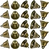 Maydahui 90PCS Bronze Jingle Bells Brass Color Vintage Small Craft Bell (1.7 X 1.5 Inches) for Wedding, Doors, Dog Collar,Christmas Hallowmas Decor