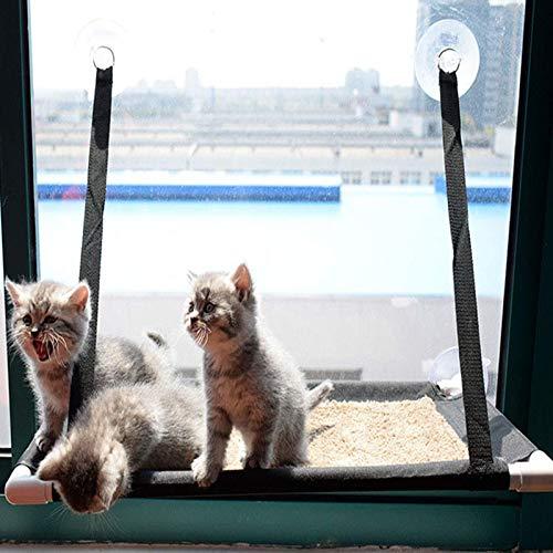 Cama colgante del gato, asiento de la cama de la ventana de la ventana de la hamaca con la ventosa, cómodo espacio de ahorro sólido duradero fácil de limpiar, instale diferentes diseños, una sola capa