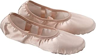 ABOOFAN Satin Ballet Practice Shoes Soft Sole Ballet Slipper Gymnastics Dance Shoes for Adults Women (Size 34)