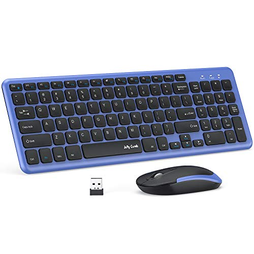 Wireless Keyboard and Mouse, Jelly Comb 2.4G USB Keyboard Mouse Combo Slim Ergonomic Quiet Energy-Saving Keyboard Mouse Set for Windows, Computer, Desktop, PC, Notebook, Laptop-KS27-2-Black and Blue