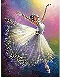 ZXlDXF Pintura por números DIY Adultos Principiante Lienzo Pintura al óleo Kits de Pintura Artesanía para Decoración Ballet Girl 16x20 pulgadas