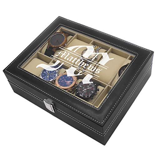 Custom Personalized Watch Storage Box Case - Name Initial - Groomsmen Fathers Day Gift - Engraved (Black)