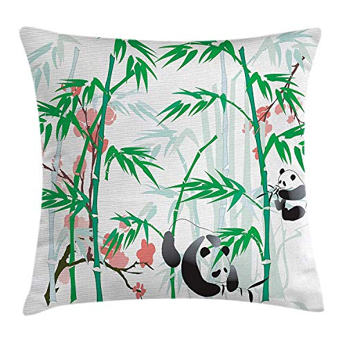 EJWERR Bamboo Throw Pillow Cushion Cover, Giant Woody Grass Bamboos and Panda Bear in Chinese Tropics Artsy Print, Decorative Square Accent Pillow Case, Pink Green White Black 20x20 inches