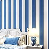 Habitaciones para niños Línea vertical azul y blanca Moda 3D Papel pintado a rayas mediterráneas para dormitorio Sala de estar Sofá TV Fondo Inicio(10mx53cm/5.3㎡)