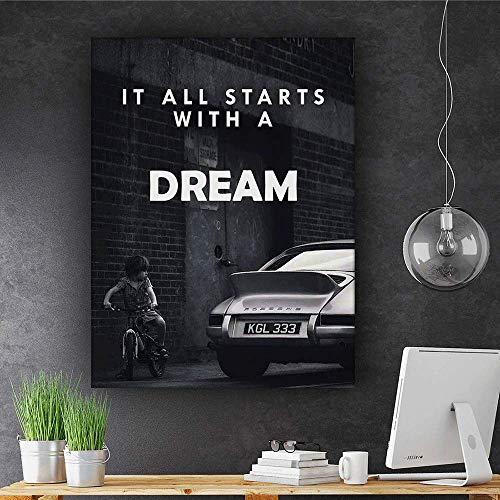 "It All Starts With A Dream Motivational Wall Art Canvas Print, Office Decor, Inspiring Framed Prints, Inspirational Porsche 911 Wall Art Decoration Quotes (36"" x 24"")"