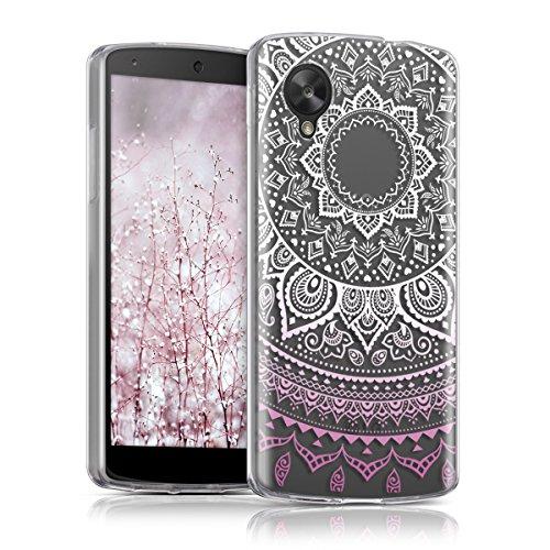 kwmobile Hülle kompatibel mit LG Google Nexus 5 - Handyhülle - Handy Hülle Indische Sonne Rosa Weiß Transparent