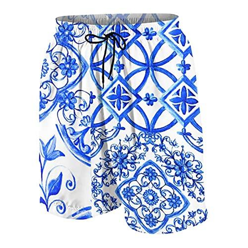 NOLOVVHA Uomo Personalizzato Costume da Bagno,Acquerello di maiolica Italiana su Piastrelle di Ceramica in Colori Blu Accogliente Decorativo,Casuale Beachwear Costumi Pantaloncini da Surf
